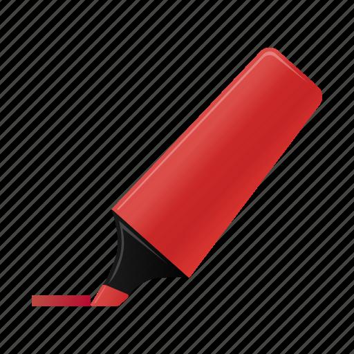 highlightmarker, marker, red, write icon