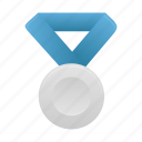 award, badge, blue, medal, prize, silver icon
