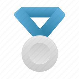 award, badge, blue, medal, prize, silver icon