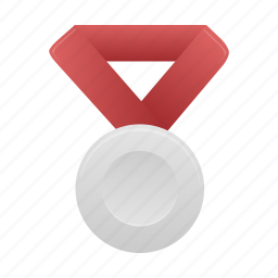 award, badge, medal, red, silver icon
