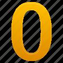 education, math, mathematics, number, numbers, yellow, zero icon