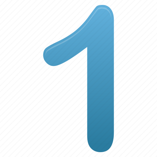 blue, education, math, mathematics, number, numbers, one icon
