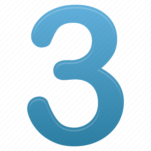 blue, calculate, math, mathematics, number, numbers, three icon