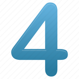 blue, education, four, math, mathematics, number, numbers icon