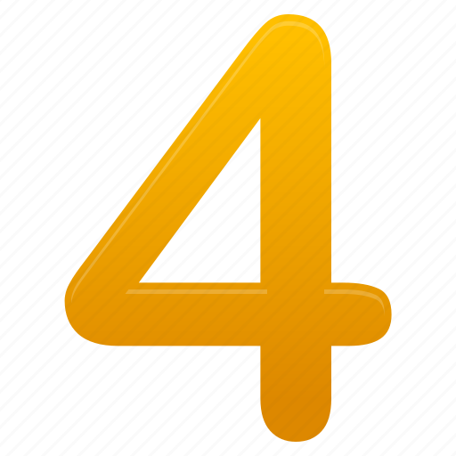 four, learning, math, mathematics, number, school, yellow icon