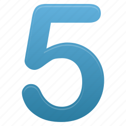 blue, calculation, education, five, learning, math, number icon