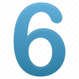 blue, education, math, mathematics, number, numbers, six icon