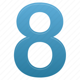 blue, calculate, eight, math, mathematics, number, numbers icon