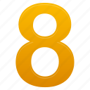 eight, yellow, math, number, calculate, mathematics, numbers icon