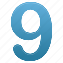 blue, education, learning, math, nine, number, numbers icon