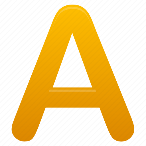 a, letter, letters, yellow icon