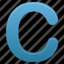 blue, c, letter, letters icon