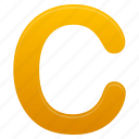 c, letter, letters, yellow icon