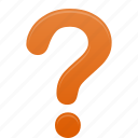 faq, help, mark, orange, question, support icon