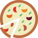 cooking, eat, food, kitchen, meal, pizza, sliced icon