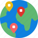 area, globe, gps, land, location, map, pin icon