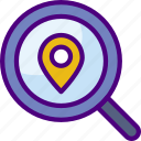 area, gps, land, location, map, pin, search icon