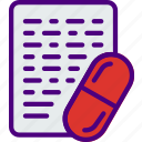cure, doctor, file, medical, medicine, pharmacy, prescription icon