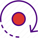 arrow, direction, location, orbit, orientation