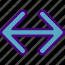 arrow, direction, horizontal, location, orientation icon