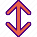 arrow, direction, location, orientation, vertical icon