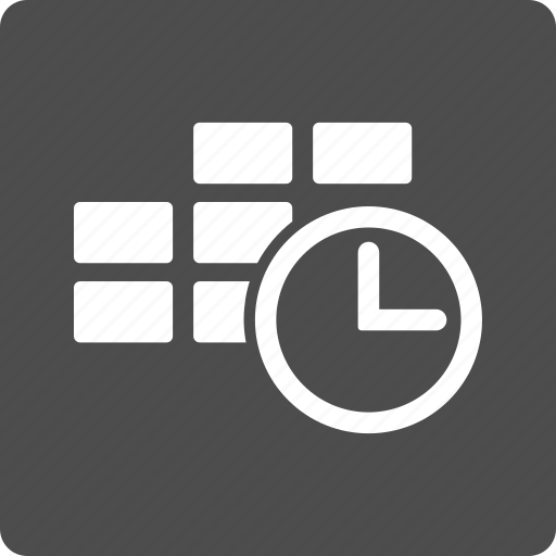 calendar, clock, date, schedule, tabel cells, time table, timer icon
