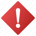 alarm, alert, attention, caution, danger, error, rhombus icon