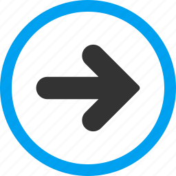 approve, continue, direction, following, forward, move right, next icon