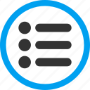 accessory, element, item list, items, menu, numerate, tasks icon
