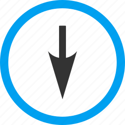 direction, down, download, fail, move, sharp arrow, south icon