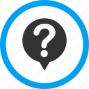 about, bubble, hint, info, query, question, status icon