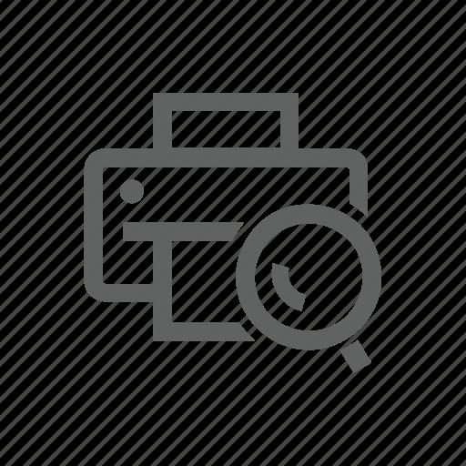 magnify, magnify glass, printer, search icon