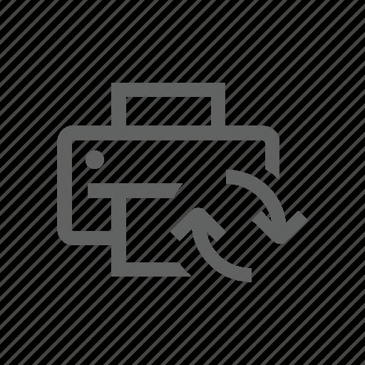 arrow, printer, sync, synchronize, update icon