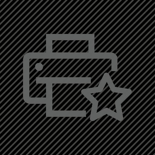 favorite, hardware, printer, star icon