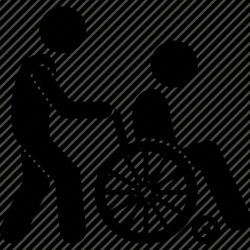 cripple, elderly, handicapped, man, people, pushing, wheelchair icon