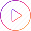 build. go, move, play, play audio, play button, play video, run icon