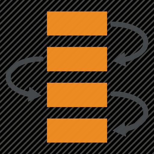 flow, methodology, procedure, process, step, workflow icon
