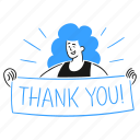 thank, you, product, woman, public, gratitude, banner icon