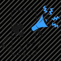 coming, soon, product, megaphone, bullhorn, announce, advertising