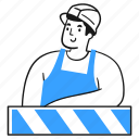 page, under, construction, sign, product, maintenance, worker icon