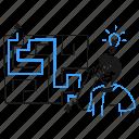 solving, problem, product, solution, puzzle, idea, labyrinth icon