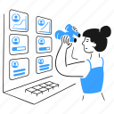 tracking, customers, product, security, binoculars, woman, screens icon