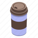 cartoon, coffee, cup, food, isometric, plastic, water