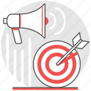 advertising, boost, production, promote, publicize, push, target icon