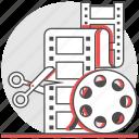 cut, edit, film, maker, montage, movie, production icon
