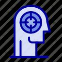 arrow, concentration, focus, head, human icon