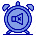 alarm, clock, mute, off, sound icon