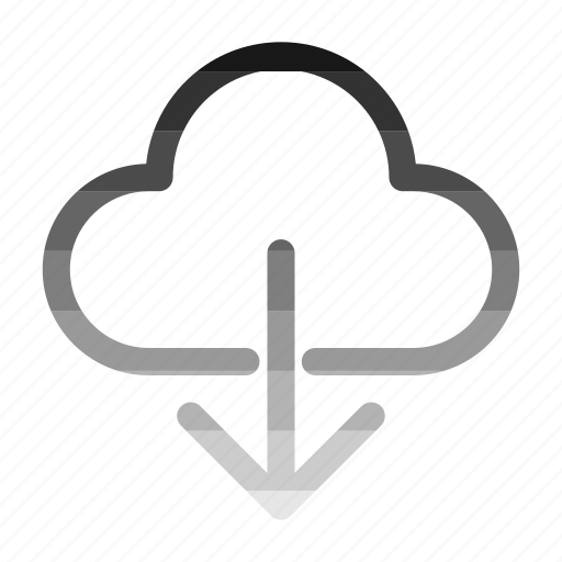 cloud, down, download, storage, weather icon