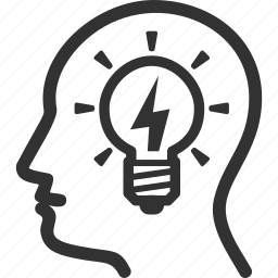 brainstorming, business idea, light bulb, strategy icon
