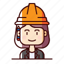 architect, avatar, builder, female, planner icon